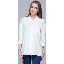 Bielizna damska: Ecru Nowoczesna Oversizowa Koszula z Długim Rękawem