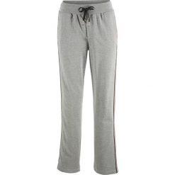 Spodnie dresowe damskie: Spodnie dresowe z paskami z boku nogawki bonprix jasnoszary melanż