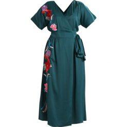 Długie sukienki: Lost Ink EMBROIDERED WRAP DRESS Długa sukienka dark green