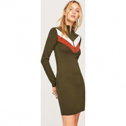 Dzianinowa sukienka mini - Khaki. Brązowe sukienki dzianinowe marki Reserved, l, mini. Za 59,99 zł.