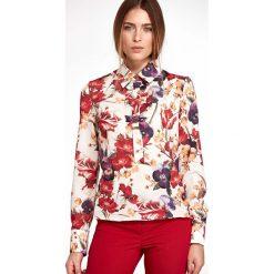 Kwiatowa Nietuzinkowa Koszulowa Bluzka z Kokardkami. Brązowe bluzki koszulowe marki Molly.pl, l, klasyczne, z długim rękawem. Za 118,90 zł.