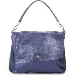 Torebki klasyczne damskie: Skórzana torebka w kolorze granatowym – 32 x 14 x 43 cm