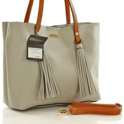 NOBO Miejski shopper bag szary. Brązowe shopper bag damskie marki Nobo, w paski, ze skóry ekologicznej. Za 219,00 zł.