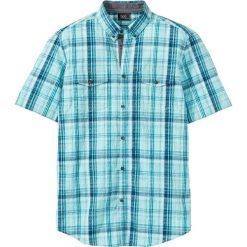 Koszule męskie na spinki: Koszula z kory w kratę Regular Fit bonprix niebiesko-turkusowo-naturalny w kratę