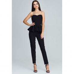 Czarny Elegancki Komplet Gorsetowa Bluzka + Długie Spodnie. Czarne bluzki asymetryczne Molly.pl, l, eleganckie, z gorsetem. Za 172,90 zł.
