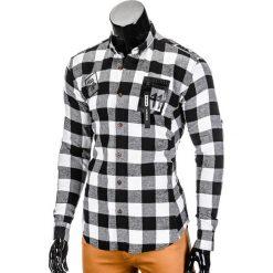 KOSZULA MĘSKA W KRATĘ Z DŁUGIM RĘKAWEM K369 - CZARNA. Brązowe koszule męskie na spinki marki Ombre Clothing, m, z aplikacjami, z kontrastowym kołnierzykiem, z długim rękawem. Za 39,00 zł.