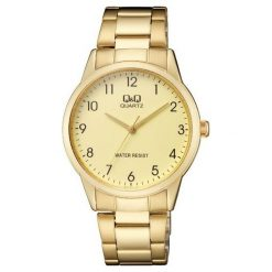 Biżuteria i zegarki męskie: Zegarek Q&Q Męski QA44-003 Klasyczny złoty