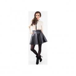 Rozkloszowana spódnica z eko skóry SL6040. Czarne spódnice wieczorowe marki Soleil, z materiału, rozkloszowane. Za 99,00 zł.