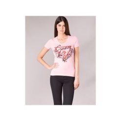 T-shirty z krótkim rękawem Guess  FENALIE. Niebieskie t-shirty damskie marki Guess, z materiału. Za 129,00 zł.