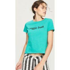 T-shirt veggie freak - Turkusowy. Niebieskie t-shirty damskie Sinsay, l. W wyprzedaży za 9,99 zł.