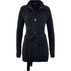 Swetry rozpinane damskie: Długi sweter rozpinany bonprix czarny
