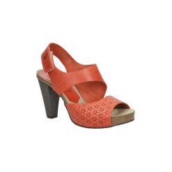 Sandały Nessi  Pomarańczowe sandały skórzane na słupku  42103. Czarne sandały damskie na słupku marki Nessi, z materiału. Za 208,99 zł.