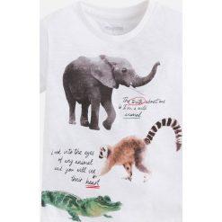 Mayoral - T-shirt dziecięcy 92-134 cm. Szare t-shirty chłopięce z nadrukiem marki bonprix, m, z dzianiny, z kontrastowym kołnierzykiem. Za 64,90 zł.