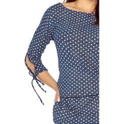 Gracia wygodna sukienka dzienna JEANS KROPKI. Niebieskie sukienki hiszpanki Bergamo, w kropki, z jeansu, sportowe, sportowe. Za 139,99 zł.
