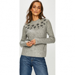 Review - Sweter. Szare swetry klasyczne damskie marki Review, l, z tkaniny, z okrągłym kołnierzem. Za 179,90 zł.