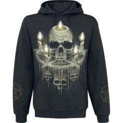 Bluzy męskie: Spiral Waxed Skull Bluza z kapturem czarny