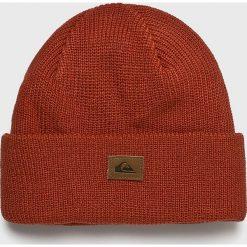 Quiksilver - Czapka. Brązowe czapki zimowe męskie Quiksilver, z dzianiny. W wyprzedaży za 69,90 zł.