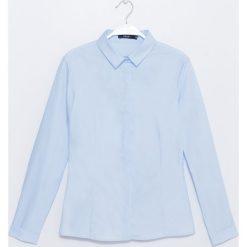 Koszula. Niebieskie koszule damskie Simple, biznesowe, z klasycznym kołnierzykiem, z długim rękawem. Za 199,90 zł.