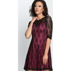 Sukienki hiszpanki: Czarno-Fuksjowa Sukienka Dressy