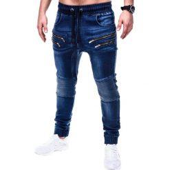SPODNIE MĘSKIE JEANSOWE JOGGERY P405 - GRANATOWE. Niebieskie joggery męskie Ombre Clothing, z bawełny. Za 79,00 zł.