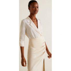 Mango - Koszula Sonia. Szare koszule wiązane damskie Mango, l, w paski, z lyocellu, z długim rękawem. Za 199,90 zł.