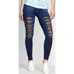 Spodnie damskie: Niebieskie Legginsy Long Live