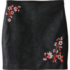 Spódniczki: Haftowana spódnica z eko-skóry
