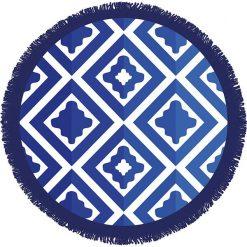 """Kąpielówki męskie: Ręcznik """"Ronde"""" w kolorze niebiesko-granatowym – Ø 150 cm"""