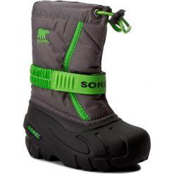 Buty zimowe chłopięce: Śniegowce SOREL – Childrens Flurry NC1885 Quarry/Cyber Green 052