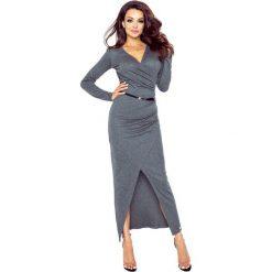 Sukienki: MARITA sukienka z asymetrycznym drapowaniem GRAFIT