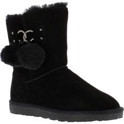 """Buty zimowe damskie: Skórzane kozaki """"Gigi"""" w kolorze czarnym"""