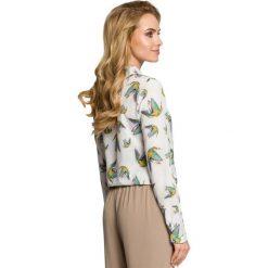 ELIANA Bluzka w kolibry z długimi rękawami - ecru. Szare bluzki longsleeves Moe, w kolorowe wzory. Za 136,99 zł.