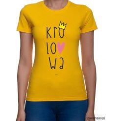 Koszulka damska. królowa. Pomarańczowe bluzki z odkrytymi ramionami Pakamera, z nadrukiem. Za 79,00 zł.