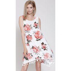 Sukienki: Biało-Pomarańczowa Sukienka Cockatoo