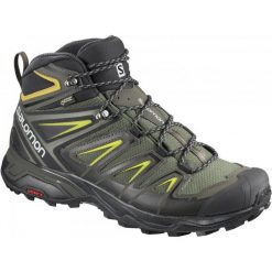 Buty trekkingowe męskie: Salomon Buty Trekkingowe Męskie X Ultra 3 Mid Gtx® Castor Gray/Black/Green Sulphur 42.7 (8,5uk)