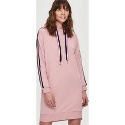 Bluzy damskie: Sukienka w formie bluzy – Różowy