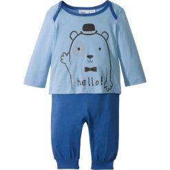 Spodnie niemowlęce: Koszulka niemowlęca z długim rękawem + spodnie z dżerseju (2 części), bawełna organiczna bonprix jasnoniebieski + lodowy niebieski