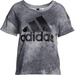 Adidas Performance ESSENTIALS Tshirt z nadrukiem solid grey/black. Szare t-shirty damskie adidas Performance, l, z nadrukiem, z bawełny. Za 129,00 zł.