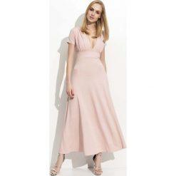 Różowa Długa Sukienka z Głębokim Dekoltem. Czerwone długie sukienki marki Molly.pl, na co dzień, na lato, l, z dzianiny, z długim rękawem. Za 99,90 zł.