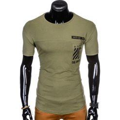 T-SHIRT MĘSKI Z NADRUKIEM S969 - KHAKI. Zielone t-shirty męskie z nadrukiem marki Ombre Clothing, na zimę, m, z bawełny, z kapturem. Za 29,00 zł.