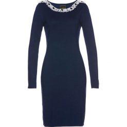Sukienka dzianinowa Premium bonprix ciemnoniebieski. Niebieskie sukienki dzianinowe bonprix, z aplikacjami. Za 149,99 zł.