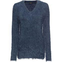 Sweter z dzianiny z długim włosem bonprix indygo. Niebieskie swetry klasyczne damskie bonprix, z dzianiny, z okrągłym kołnierzem. Za 89,99 zł.