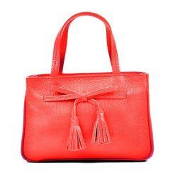 Torebki klasyczne damskie: Skórzana torebka w kolorze czerwonym – (S)16 x (W)25 x (G)10 cm