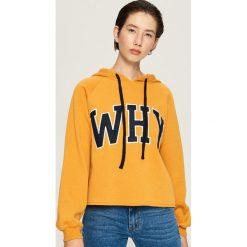 Krótka bluza z kapturem - Żółty. Żółte bluzy z kapturem damskie marki Mohito, l, z dzianiny. Za 59,99 zł.