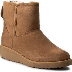 Buty UGG - W Kristin 1012497 W/Che. Szare buty zimowe damskie marki Ugg, z materiału, z okrągłym noskiem. W wyprzedaży za 519,00 zł.
