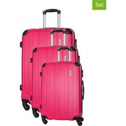 Zestaw walizek w kolorze różowym - 3 szt. Czerwone walizki marki Platinium, z materiału. W wyprzedaży za 539,95 zł.