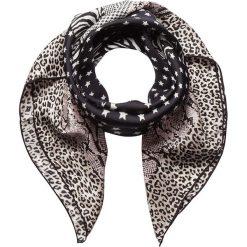 Chusty damskie: Chusta w kolorze czarno-beżowo-jasnoróżowym – 90 x 90 cm