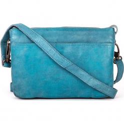 Skórzana torebka w kolorze błękitnym - 24 x 17 x 6 cm. Niebieskie torebki klasyczne damskie neropantera, w paski, z materiału. W wyprzedaży za 272,95 zł.