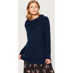 Sweter z wykładanym kołnierzem Gold Label - Zielony. Brązowe swetry klasyczne damskie marki Mohito, m. Za 159,99 zł.