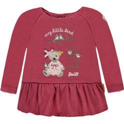 Bluza w kolorze koralowym. Czerwone bluzy dziewczęce rozpinane marki Steiff, z aplikacjami, z materiału. W wyprzedaży za 65,95 zł.